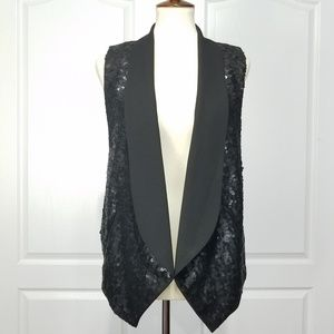 Michael Kors Sequins Black Tuxedo Vest S
